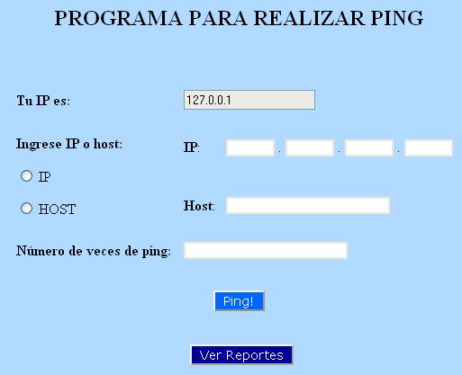 Pantalla inicial del Programa Ping