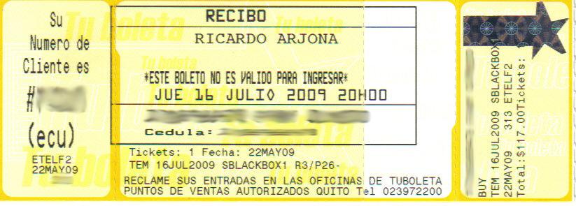 Entrada concierto de Ricardo Arjona Quito (Preventa)