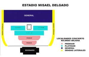 Mapa de localidades Estadio Misael Delgado